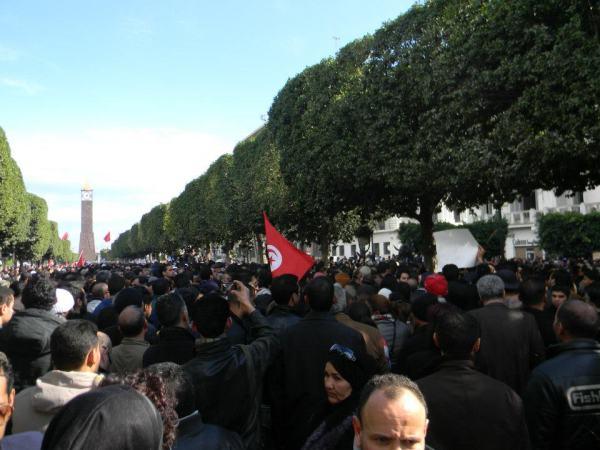 Manifestation sur l'avenue Bourguiba, le 6 février.