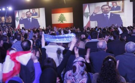 Saad Hariri dans son allocution retransmise par vidéo depuis Paris, le 14 février